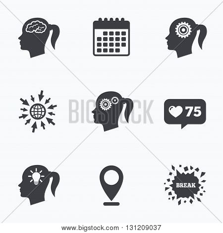 Calendar, like counter and go to web icons. Head with brain and idea lamp bulb icons. Female woman think symbols. Cogwheel gears signs. Location pointer.