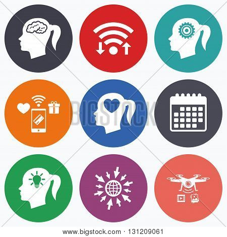Wifi, mobile payments and drones icons. Head with brain and idea lamp bulb icons. Female woman think symbols. Cogwheel gears signs. Love heart. Calendar symbol.