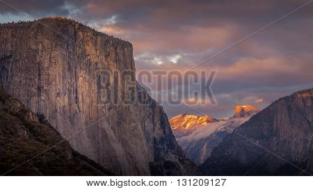 A gorgeous last ligtht capture warming up the sky and shining the light on Half Dome and Clouds Rest from Tunnel View.