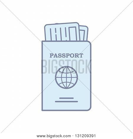 Modern concept passport. Flat line isolated vector illustration