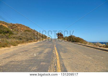 Road through the hills in Malibu California