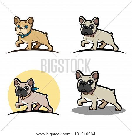 Illustration of French Bulldog Cartoon Mascot Bundle Set