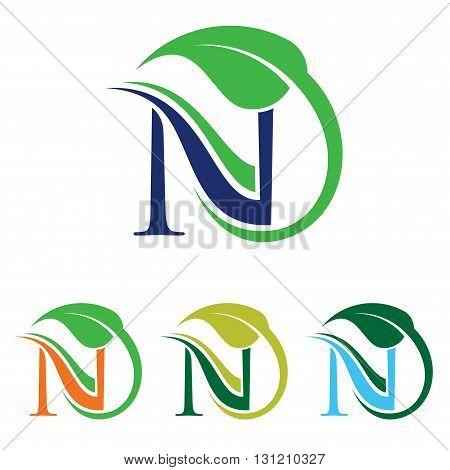 Symbol of Organic N Green Leaf Symbol