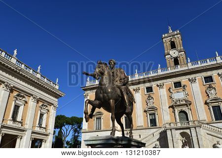 Bronze equestrian statue of Marcus Aurelius emperor of Rome in the center of Capitoline Square Rome