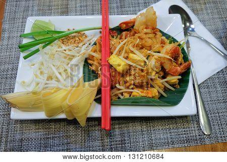 Shrimps Pad Thai on dish , Thailand Food