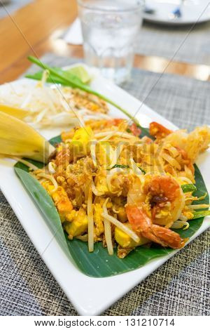 Shrimps Pad Thai on dish (Thailand's national dishes)
