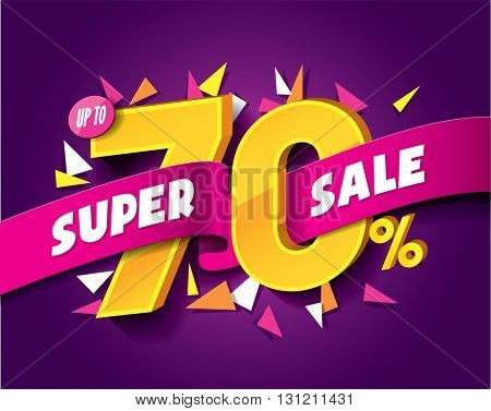 Sale concept vector banner with abstract triangle elements. sale layout design. Vector illustration.