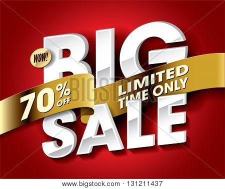Big Sale concept vector banner. sale layout design. Vector illustration.