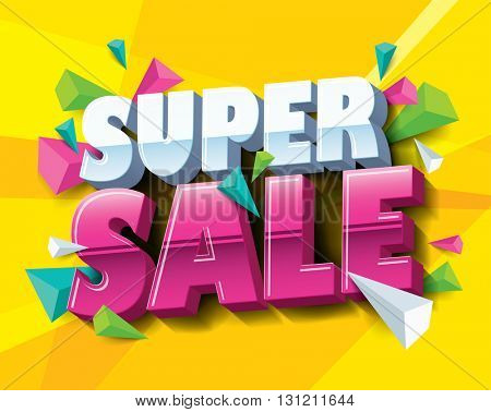 Super Sale layout design with abstract triangle elements. Vector illustration.