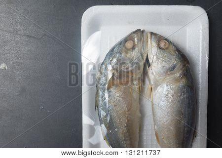 Two of steamed mackerel fish in foam tray