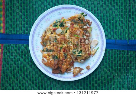 Thai cuisine and food pate of thai style omelet many vegetable for quick breakfast or lunch