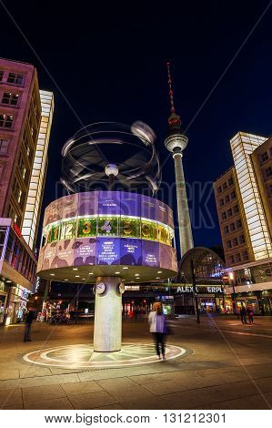 World Time Clock On Alexanderplatz In Berlin, Germany, At Night