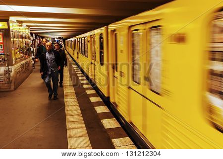 Berlin Germany - May 15 2016: metro station with unidentified people in Berlin. The metro in Berlin opened 1902 and has today 173 stations and a length of 146 km