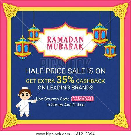 Elegant Ramadan Kareem Sale Poster, Sale Banner, Sale Flyer, Get extra 35% Cashback on Leading Brands. Vector Sale Illustration.