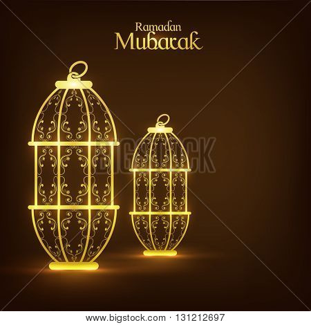 Golden glowing, Traditional floral Lanterns on glossy brown background for Holy Month of Muslim Community Festival, Ramadan Mubarak.