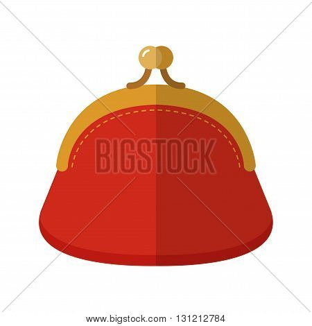 Purse. Flat colored object and fashion accessory. Vector illustration