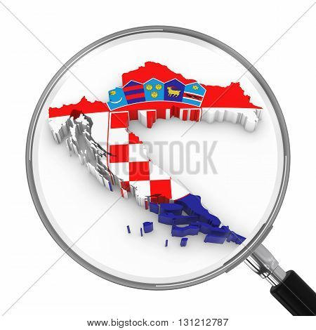 Croatia Under Magnifying Glass - Croatian Flag Map Outline - 3D Illustration
