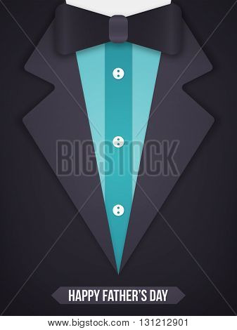 Creative illustration of glossy formal suit and bow tie, Elegant greeting card design for Happy Father's Day celebration.