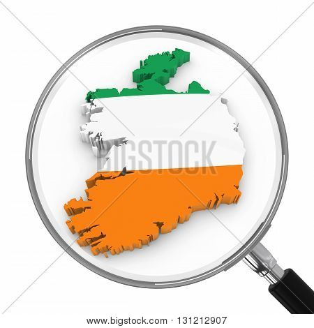 Ireland Under Magnifying Glass - Irish Flag Map Outline - 3D Illustration