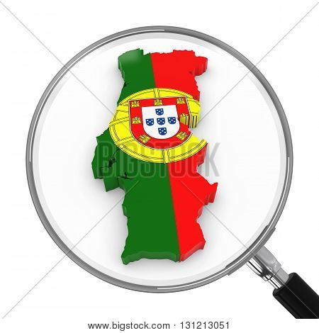 Portugal Under Magnifying Glass - Portuguese Flag Map Outline - 3D Illustration