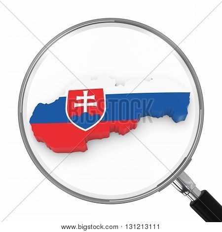 Slovakia Under Magnifying Glass - Slovakian Flag Map Outline - 3D Illustration