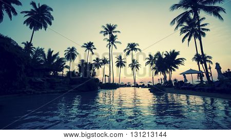 Twilight on a tropical coast with silhouette palm trees.