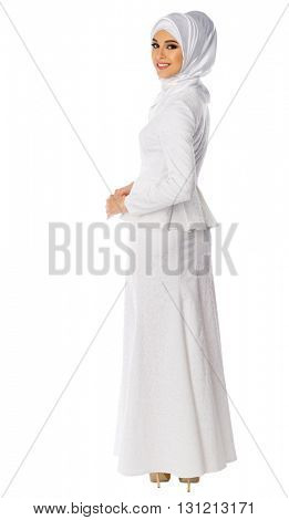 Muslim woman isolated on white