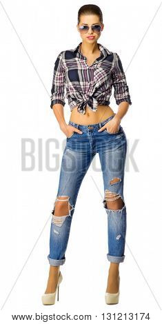Young woman in jeans isolated