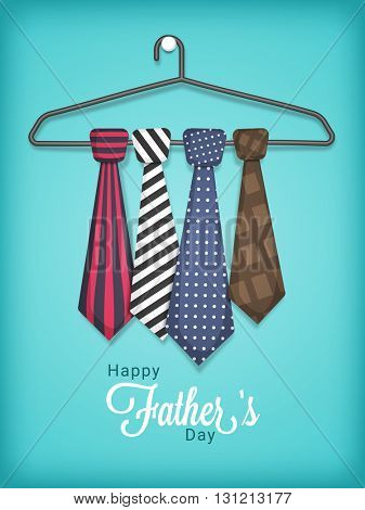 Creative stylish Ties set on hanger, shiny sky blue background for Happy Father's Day celebration.
