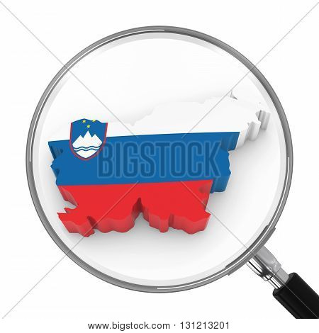 Slovenia Under Magnifying Glass - Slovenian Flag Map Outline - 3D Illustration