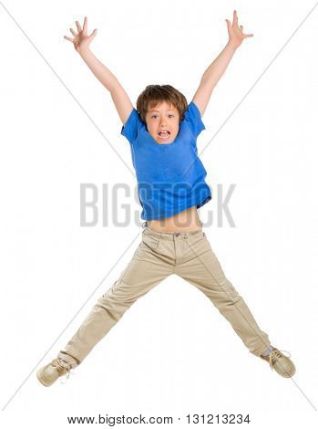 Little jumping boy isolated on white