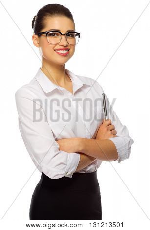Young businesswoman with glasses and pen isolated