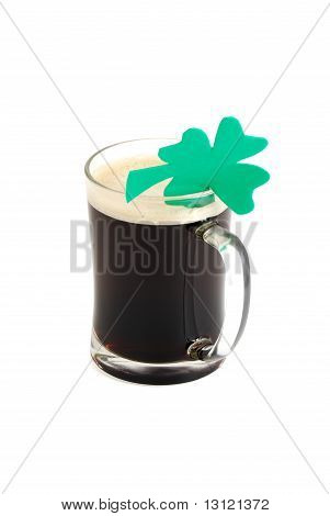 Glass Of Dark Beer Decorated With 4-leaf Clover