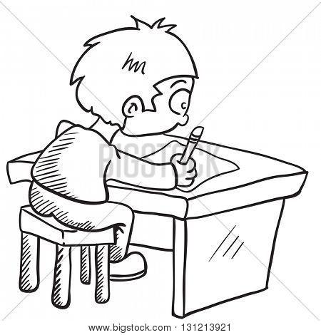 black and white boy doing homework cartoon illustration