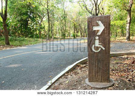 Handicap sign in public park at Thailand