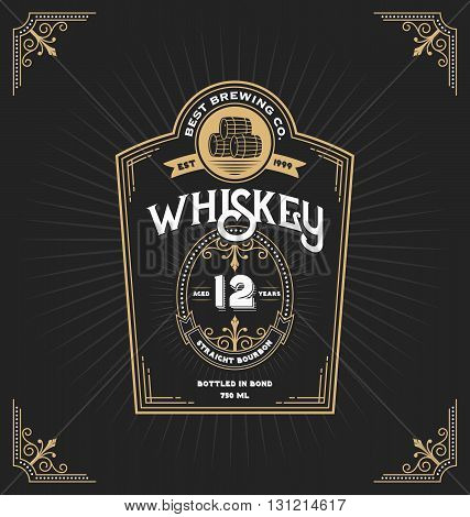 Vintage frame label for whiskey and beverage product. You can apply this for another product such as Beer Wine Shop decoration. Vector illustration