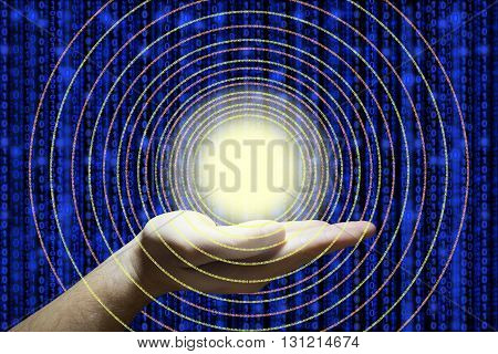 Hand holds a glowing ball emitting circular digital datastreams