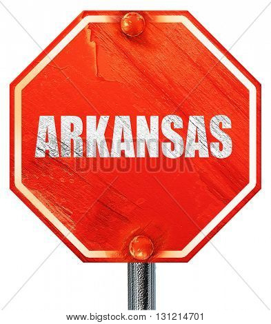 arkansas, 3D rendering, a red stop sign