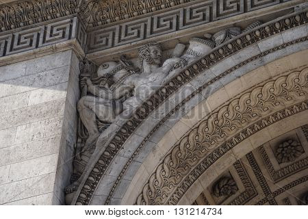 The arc DE triomphe embossed on the old