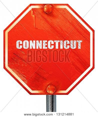 connecticut, 3D rendering, a red stop sign