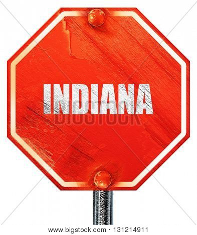 indiana, 3D rendering, a red stop sign