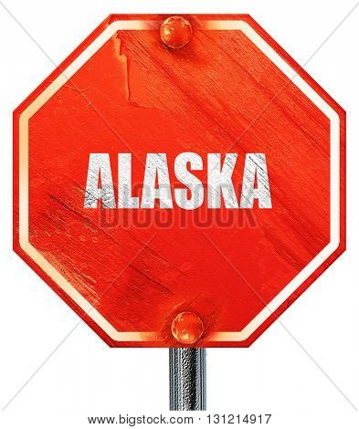 alaska, 3D rendering, a red stop sign