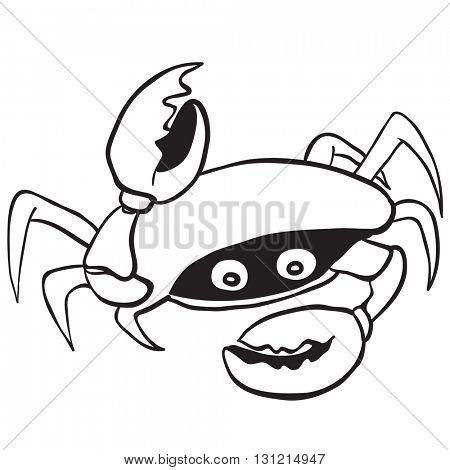 black and white crab cartoon