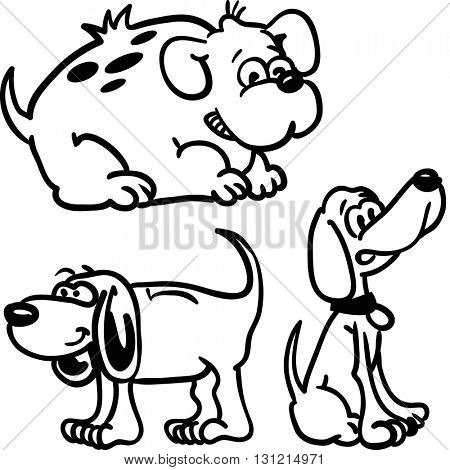 black and white dogs cartoon