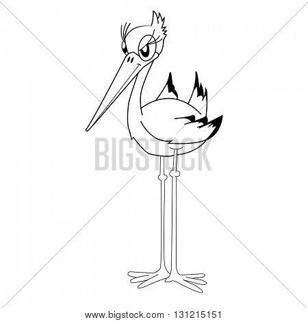 black and white stork cartoon