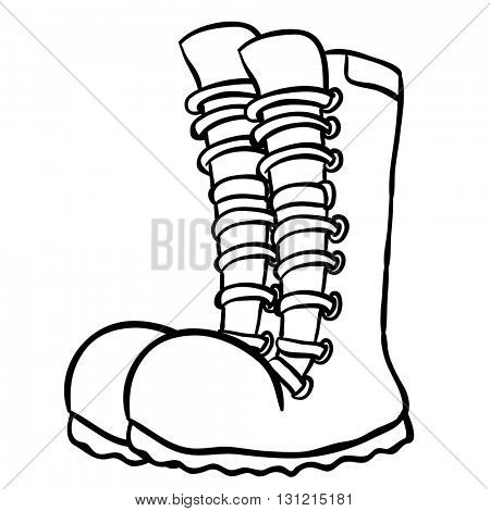 black and white pair of boots cartoon