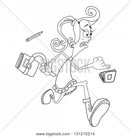 black and white girl late for school cartoon