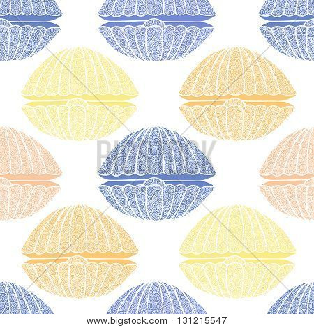 Wonderful vector seamless pattern of seashells. Bright set painted by hand. To use postcards, greetings, prints on textiles and other creative products.