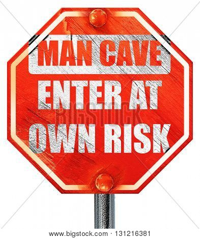 man cave sign, 3D rendering, a red stop sign
