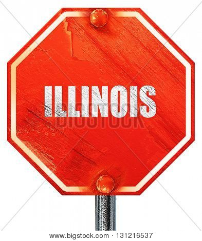 illinois, 3D rendering, a red stop sign